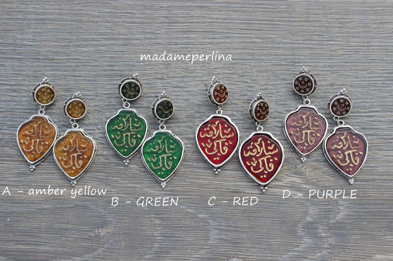 Ethnic earrings old Ottoman alphabet carved glass antique silver plated orient boho dangle post stud statement earring kp143