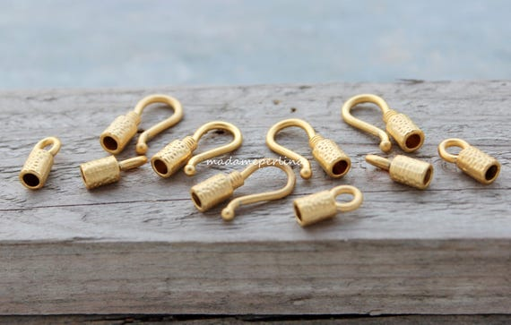 Matte Gold Tone over Pewter Clasps Findings 6 Piece Set