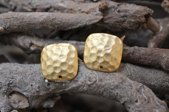8a7a03009 Pair of earrings posts connectors earring stud ear blank Satin 22k matte  gold Plated hammered square with stainless steel Post ST12