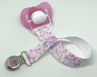 Dummy Clip/Pacifier Clip - floral, flowers, girl, pink and purple designs