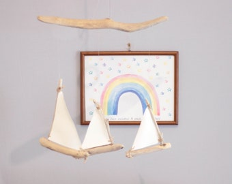 Driftwood Sailboats Mobile -- Wooden Ships -- Nautical Nursery Decor -- Patio / Balcony / Hotel Interior Design -- Ready to Ship