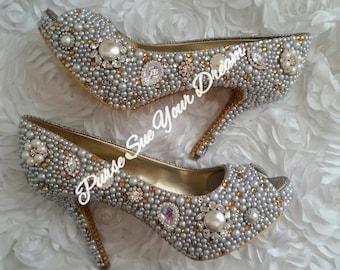 af013b1f2ff0 Vintage Inspired Heels - Swarovski Gold Crystal Heels - Pearls and Gold  Rhinestone Heel Shoes - Wedding Bridal Shoes - Gold Bridal Shoes