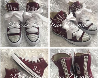 0946c323dbd Personalized Bridal Swarovski Crystal Wedding Burgundy Converse - Swarovski  Crystal Wedding Shoes - Swarovski Maroon Wedding Converse
