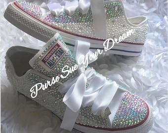 f53f9c80862b Bridal Pearl and Crystal Rhinestone Converse Wedding Shoes - Bridal Shoes - Pearl  Wedding Shoes - Wedding Converse - Swarovski Crystals
