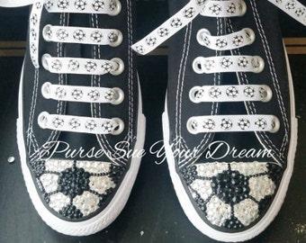0f9d5d55e1b Custom Swarovski Crystal Rhinestone Baseball Themed Converse Shoes
