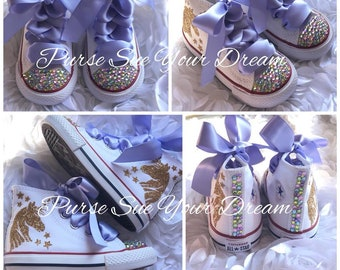 Pastel Unicorn Bling Converse Shoes - Unicorn Birthday Party - Swarovski  Crystal Converse - Rainbow Unicorn Birthday Outfit - Unicorn Shoes ddc3828a4d60