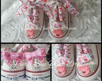 c1bb67fd922 Peppa Pig Themed Converse Shoes - Peppa Pig Birthday - Custom Crystal  Rhinestone Converse Shoes - Peppa Pig Birthday Shoes