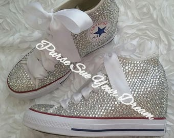 SWAROVSKI CRYSTAL CONVERSE Chuck Taylor Lux Wedge Mid Wedding Converse - Wedding Chucks- Pearl Wedding Shoes - Swarovski Bat Mitzvah Shoes