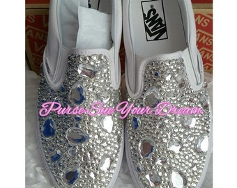 e4e32106878fda Swarovksi Crystal Designed Wedding Vans Authentic Shoes - Vans Wedding Shoes  - Custom Wedding Shoes - Rhinestone Vans - Video In Description