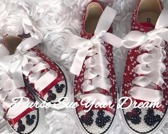 3a7a1ea2de0d Minnie and Mickey Mouse Bridal Converse Wedding Shoes - Mommy and Me Disney  Shoes - Disney Bride - Pearl Wedding Converse - Disney Wedding
