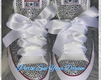 50c38cf007e3 Custom Bridal Swarovski Crystal Converse Wedding Shoes - Swarovski Crystal  Wedding Shoes - Swarovski Rhinestone Converse - Bride Shoes