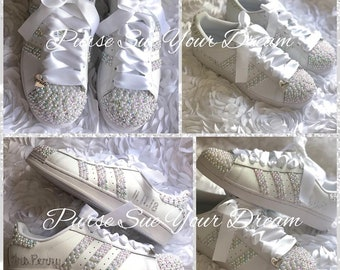 best service 5f7e4 29f3c Swarovski Crystal and Pearl Design Bridal Adidas Superstar Wedding Shoes -  Bling Rhinestone Adidas - Bridal Adidas - Pearl Wedding Shoes