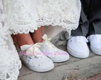 f412eca6bd0e Custom Pearl and Crystal Rhinestone Bridal Vans Wedding Shoes - Custom  Swarovski Shoes - Pearl Wedding Shoes