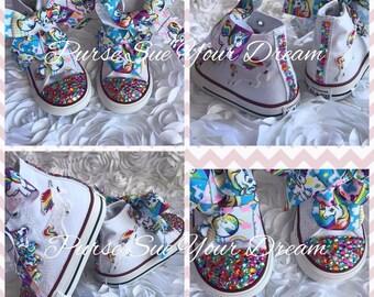 66e9ead80beee Unicorn Bling Converse Shoes Unicorn Birthday Party | Etsy
