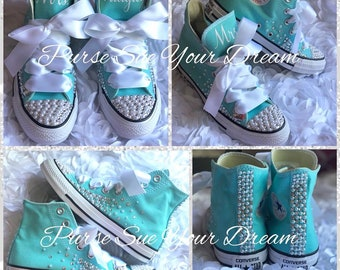 9ca4687d8efe Personalized Pearl and Swarovski Crystal Converse Wedding Shoes - Wedding  Converse - Custom Rhinestone Converse - Rhinestone Converse Shoes