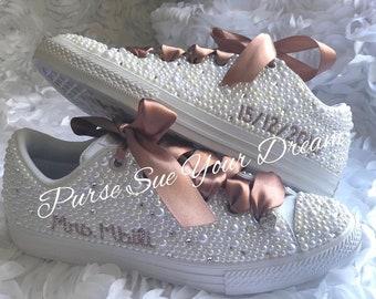 d2f8cc7115c5 Rose Gold Bridal Pearl and Crystal Rhinestone Converse Wedding Shoes - Bridal  Shoes - Pearl Shoes - Wedding Converse - Rose Gold Shoes