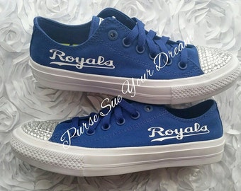 9a1b6064bfdb33 Custom Swarovski Crystal Kansas City Royals Converse Shoes - Authentic  Custom Converse