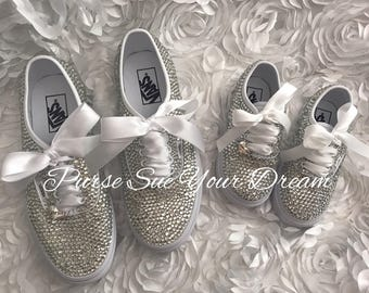 925f0858ece167 Custom Swarovksi Crystal Designed Bridal Vans - Vans Wedding Shoes - Custom  Wedding Shoes - Rhinestone Vans - Flower Girl Shoes