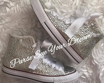 Swarovski Crystal Rhinestone High Top Converse Shoes - Wedding Converse -  Custom Converse 4ce023532c54