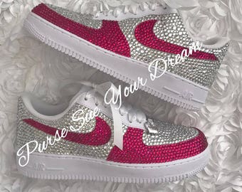 Swarovski Crystal Rhinestone Nike Air Force 1 Designed Shoes - Swarovski  Crystal Designs - Rhinestone Nike Air Force One - Wedding Nikes b81a4cd71