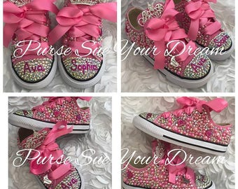 Custom Swarovski Crystal and Pearl Converse Shoes - Flower Girl Shoes -  First Birthday Outfit - Wedding Converse 930802893c74