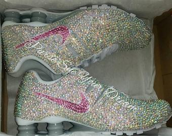 Crystal Rhinestone Nike Shox Designed Shoes - Swarovski Crystal Designs -  Custom Shoes - Wedding Nikes - Swarovski Nikes 1c24520f7549