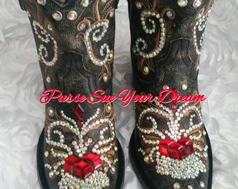 5a33efb9258 Swarovski Crystals Cowboy Boots Custom Boots Swarovski | Etsy