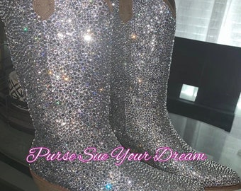 742289d44d9 Ombre' Swarovski Crystal Design Wedding White Cowboy Boots | Etsy