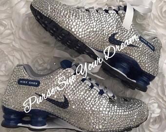 0b58b204b4ecf0 Custom Swarovski Crystal Designed Bridal Nike Shox Shoes - Swarovski  Crystal - Custom Bridal Nikes - Rhinestone Nike Shoe - Wedding Nikes