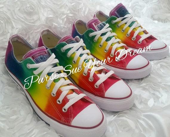 Custom Tie Dye Converse Hecho a pedido Rainbow Design Tie Dye Theme Custom Rainbow Tie Dye Converse, Vans, &ked's