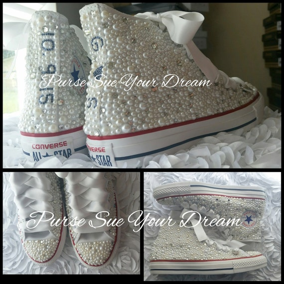Custom Pearl and Crystal Rhinestone Bridal Converse Wedding Shoes Prom Shoe Custom Converse Pageant Shoes
