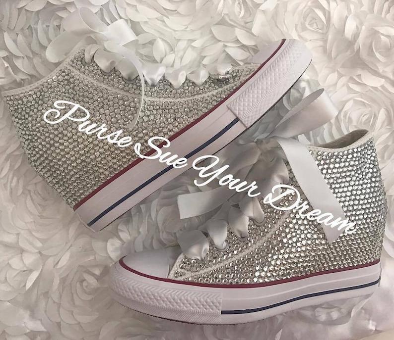 946de00303ab Converse Wedge Swarovski Crystal Wedding Converse Converse