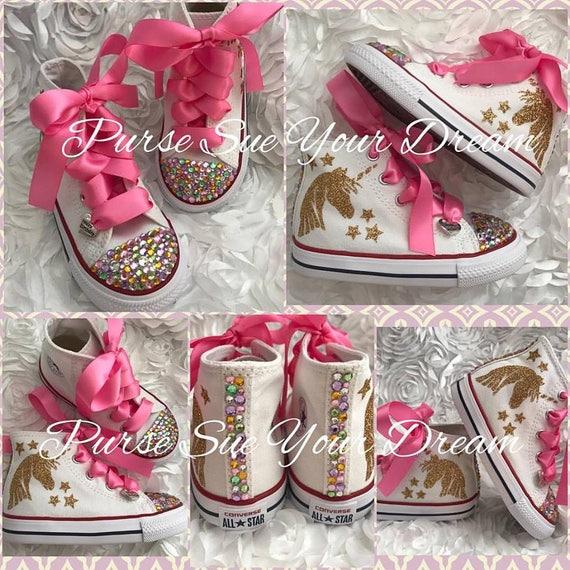 789ff2648b962 Unicorn Bling Converse Shoes - Unicorn Birthday Party - Swarovski Crystal  Converse - Rainbow Unicorn Birthday Outfit - Pastel Unicorn Shoes