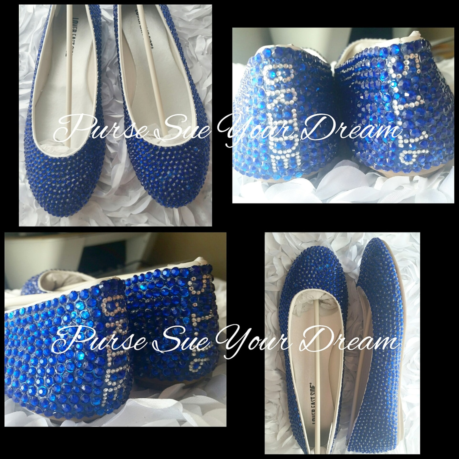 custom royal blue swarovski crystal rhinestone ballet flats - something blue - wedding ballet flats bridal shoes - bridal flats