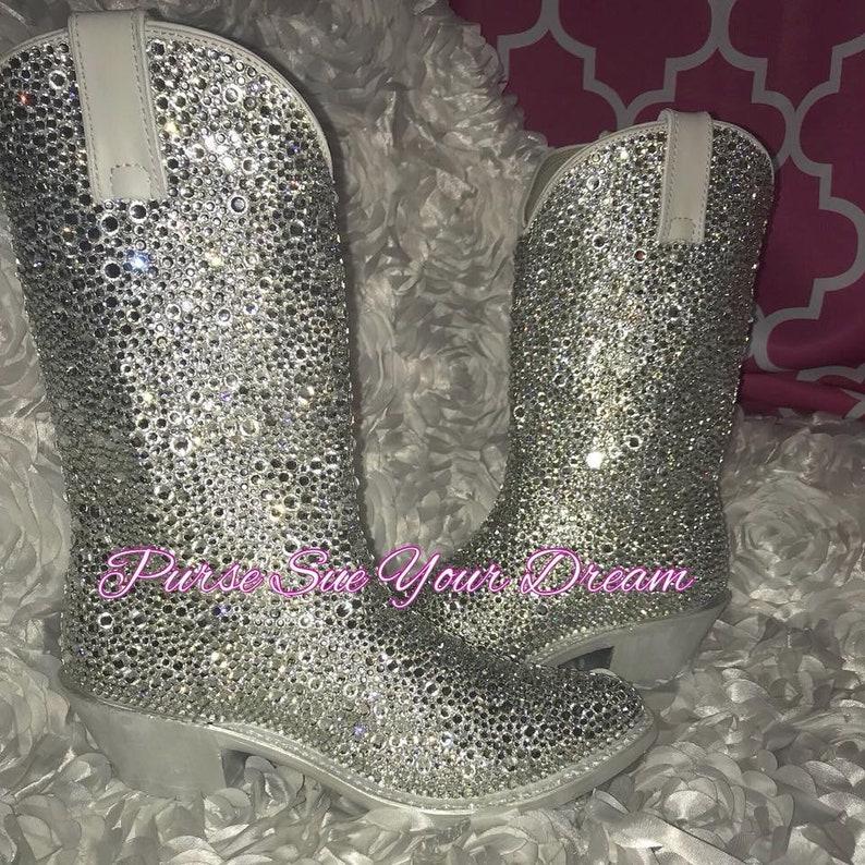 630c7dbb20c Custom Swarovski Crystal Wedding White Cowboy Boots - Custom Boots -  Swarovski Wedding Cowboy Boots - Rhinestone Bridal White Cowboy Boots