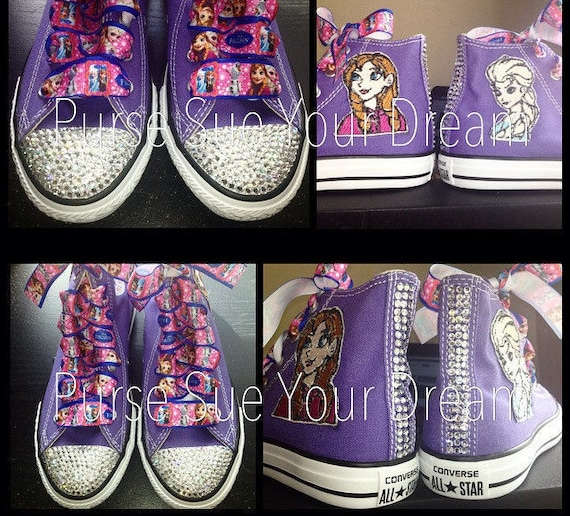 Custom Crystal Rhinestone Frozen Themed Converse Shoes  9c99cc3e4808