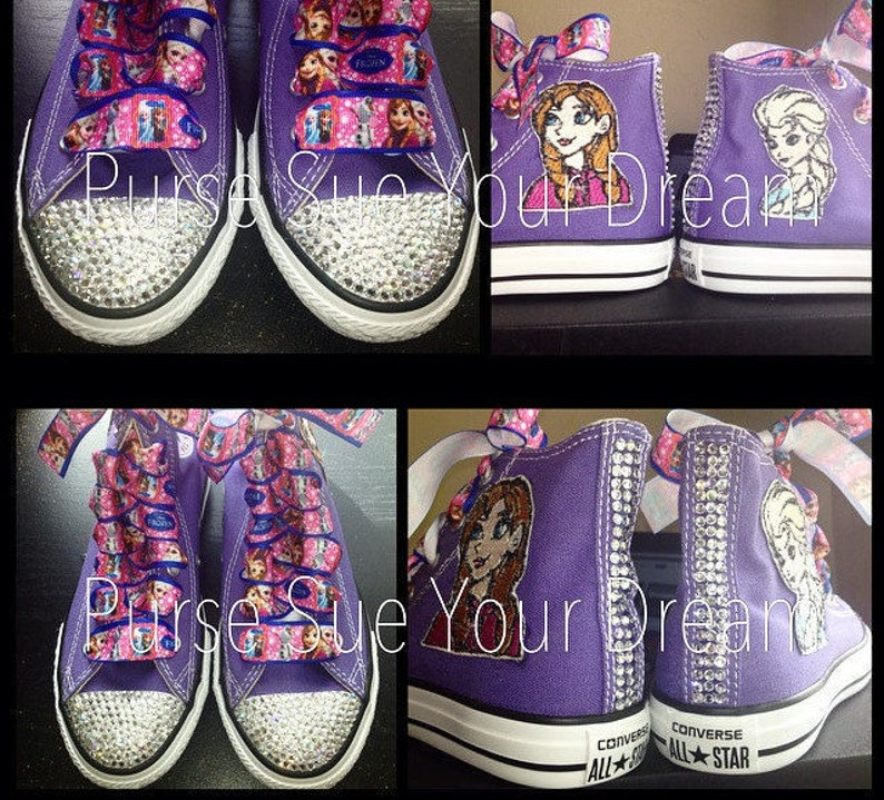 0bcd7b466890b2 Custom Crystal Rhinestone Frozen Themed Converse Shoes
