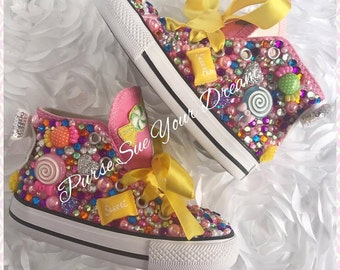 Custom Candyland Birthday Converse Shoes - Candyland/Candy shoppe Birthday - Custom Swarovski Converse Shoes