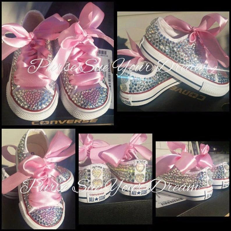 64003b043ec6 Custom Swarovski Crystal Rhinestone Converse Shoes Flower