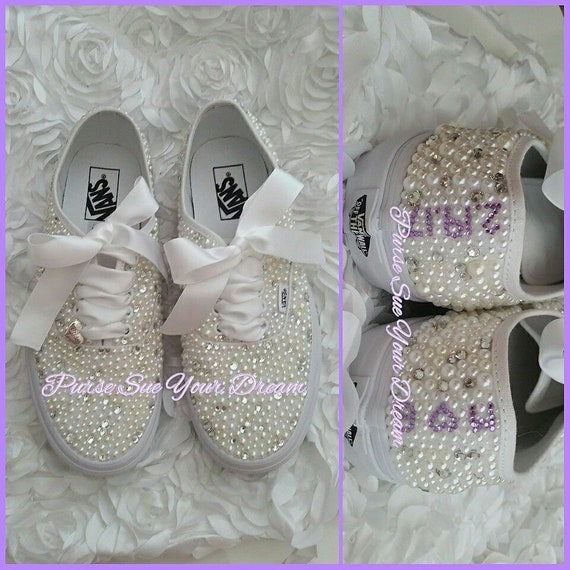 Custom Pearl and Crystal Rhinestone Bridal Vans Wedding