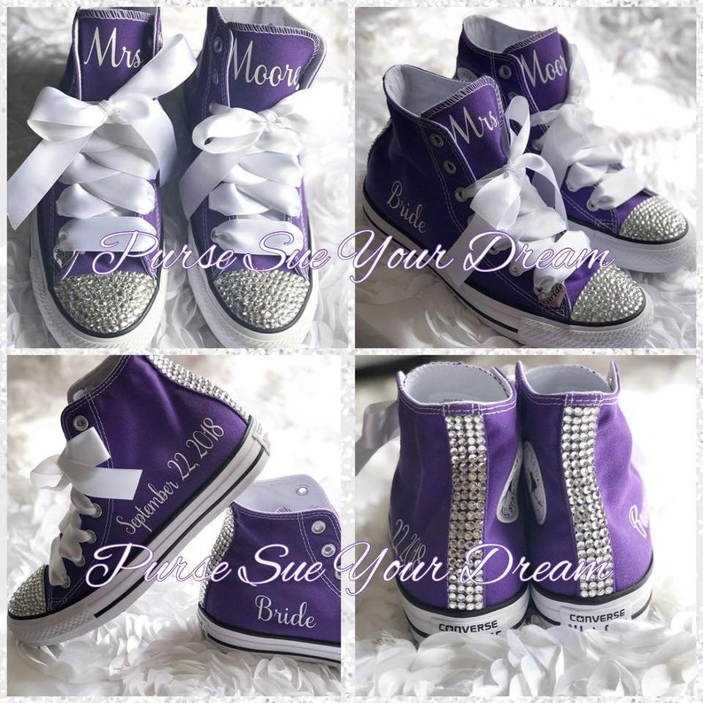 82562158c13d Personalized Custom Swarovski Crystal Wedding Converse - Swarovski Crystal  Wedding Shoes - Swarovski Converse Wedding Shoes