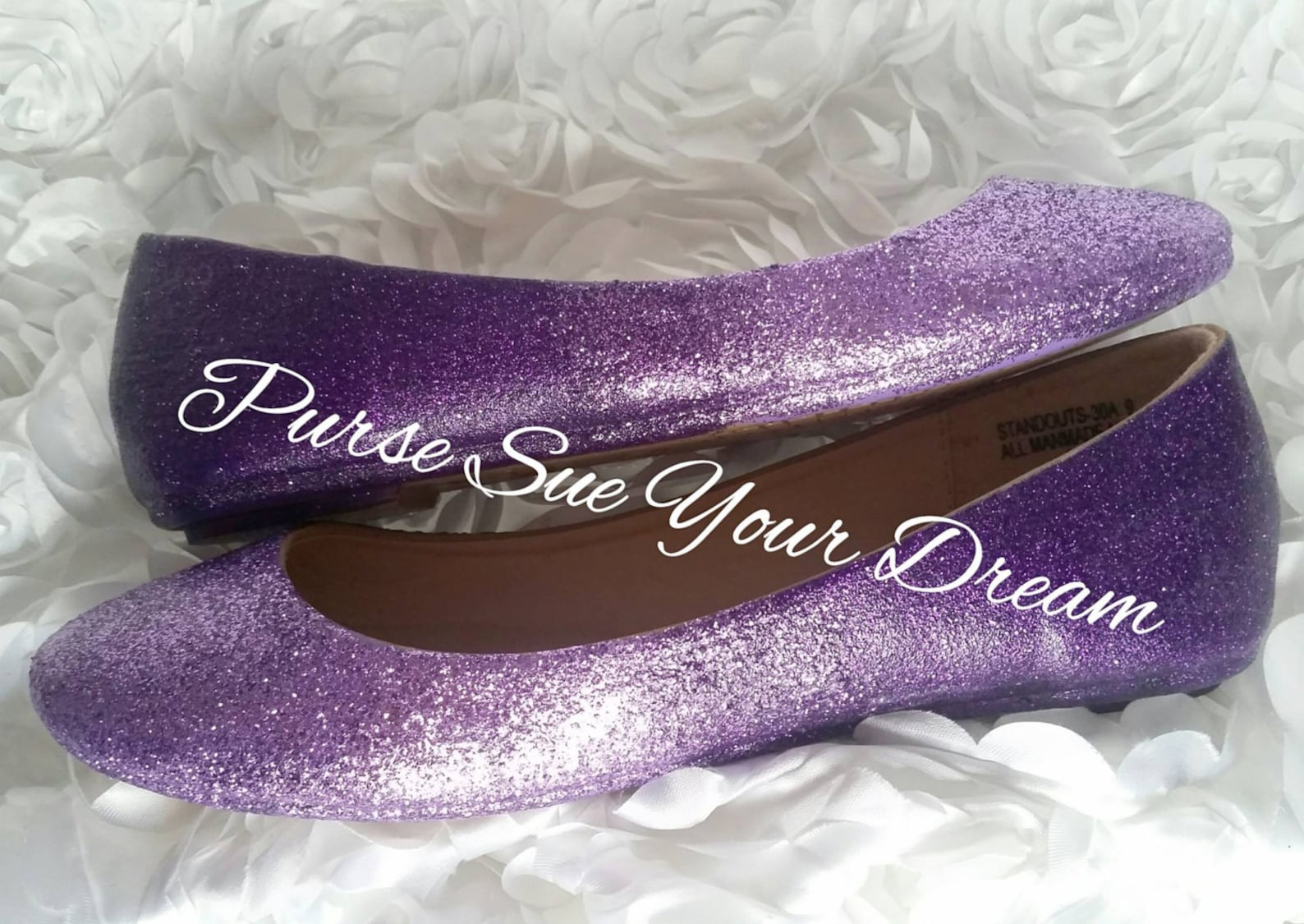 lavender ombre' fade to amethyst purple glitter bridal ballet flat shoes - wedding glitter shoes - wedding ballet flat shoes