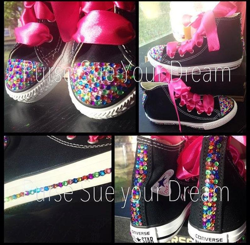 e2ec6f644910a Swarovski Crystal Rhinestone Rainbow Converse Hi Top Chucks - Bling Shoes -  Custom Shoes