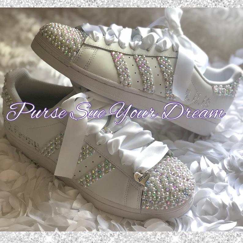 f8bb3d14fbdbe Swarovski Crystal and Pearl Design Bridal Adidas Superstar Wedding Shoes -  Bling Rhinestone Adidas - Bridal Adidas - Pearl Wedding Shoes