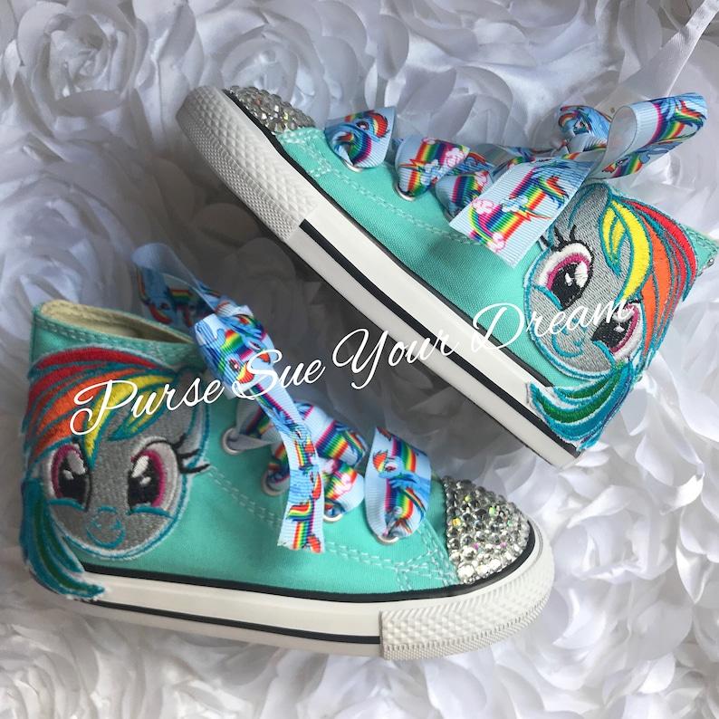 big sale 3621b fdae9 My Little Pony Shoes - Bling Shoes - Custom Rhinestone Shoes - Rainbow Dash  Converse - My Little Pony Birthday - My Little Pony Party