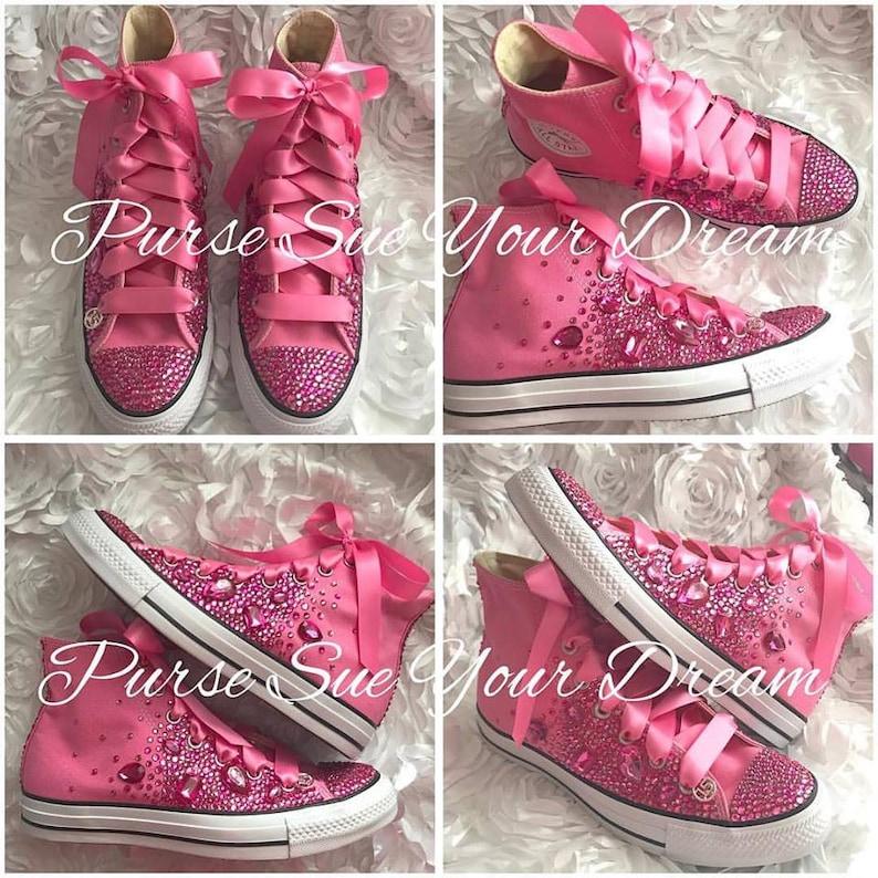 66b275a8ab47 Pink Swarovski Crystal Converse Shoes Swarovski Crystals