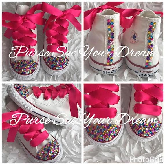 144e038d005e1 Swarovski Crystal Rhinestone Rainbow Themed Converse Hi Top Chucks - Bling  Shoes - Custom Shoes - Custom Converse