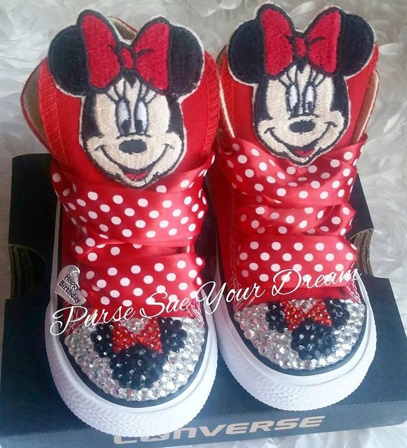 d2837581ae27 Custom Minnie Mouse Swarovski Crystal Rhinestone Converse