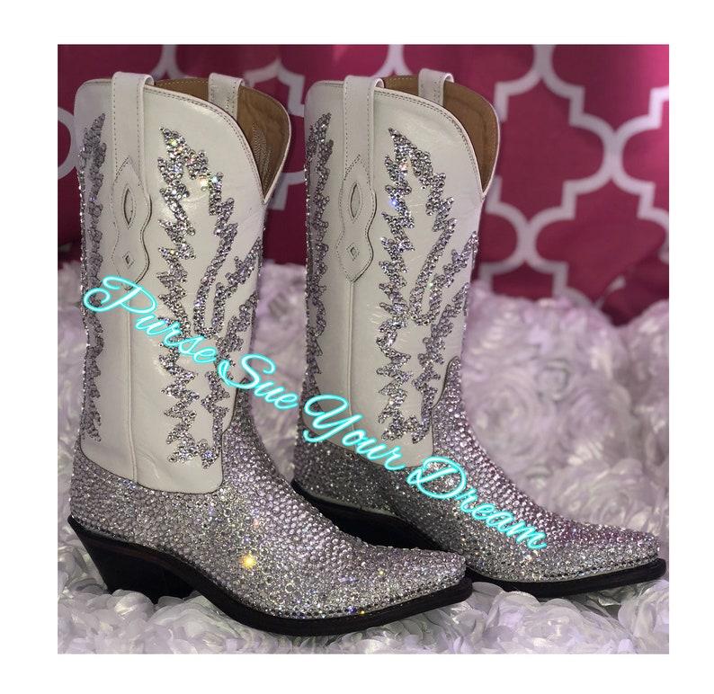 068aecc1185 Swarovski Crystals Cowboy Boots - Custom Boots - Swarovski Wedding Cowboy  Boots - Rhinestone Boots - Custom Shoes - Bling Cowboy Boots