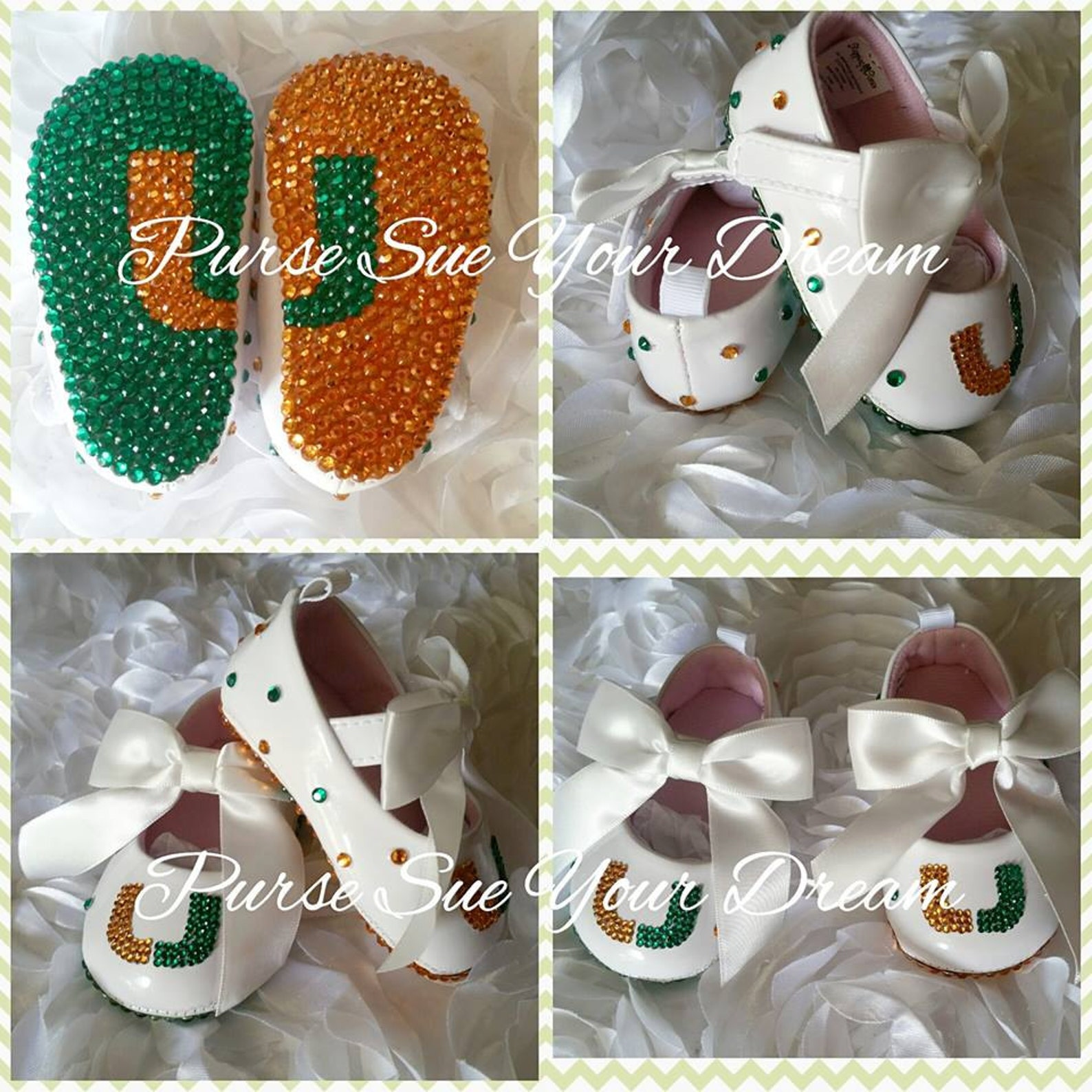miami hurricane inspired crystal rhinestone infant size ballet shoes - swarovski baby shoes - christening/baptism/pageant/weddin